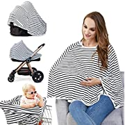 Baby Nursing Cover & Car Seat Canopy - Multi Use Cover for Baby Carseat, High Chairs, Shopping Carts, Lengthened Size Provide 360° Full Privacy Breastfeeding Protection-Best Baby Gift for Boy & Girl