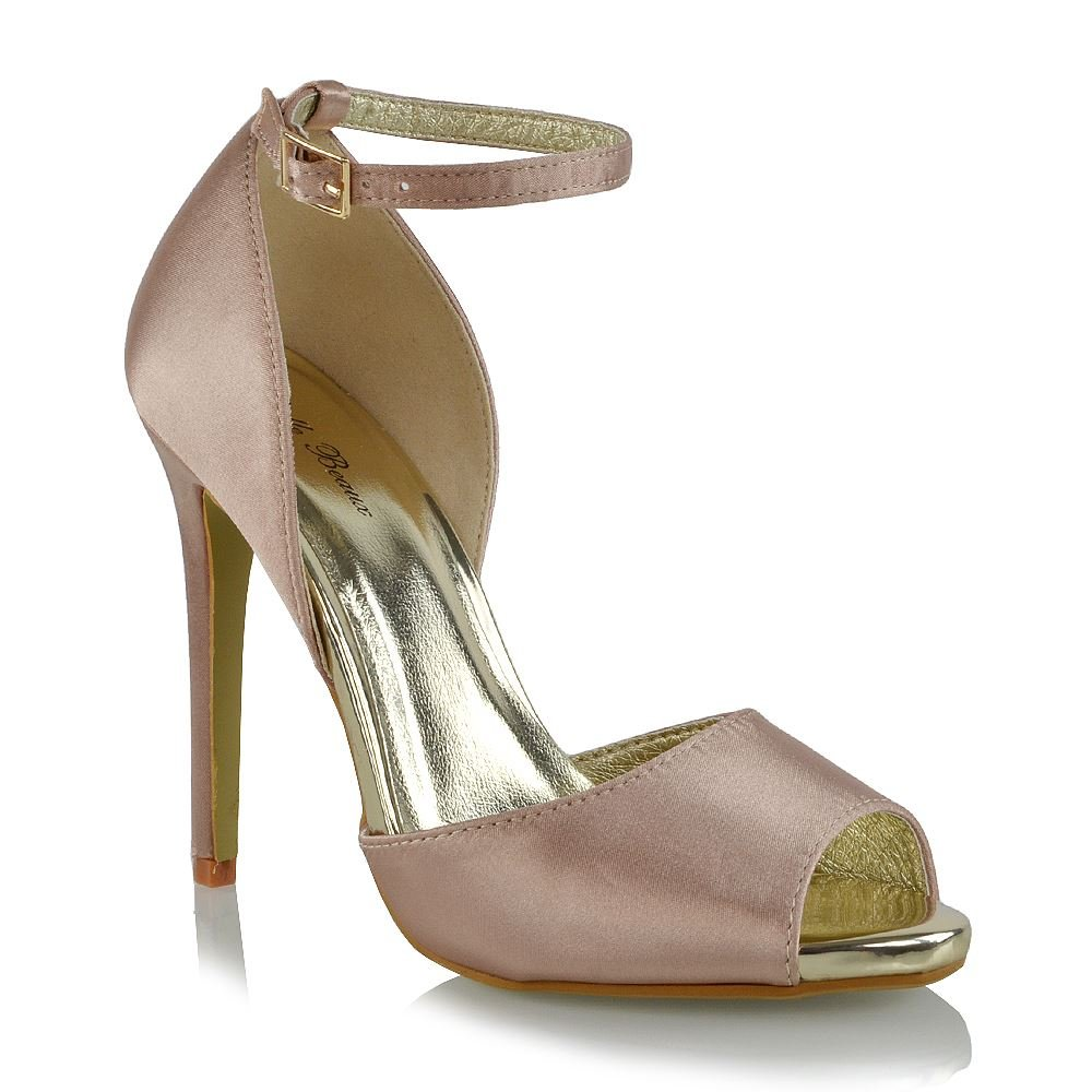 Essex Glam Womens High Heel Peep Toe Ankle Strap Champagne Satin Part Shoes 9 B(M) US