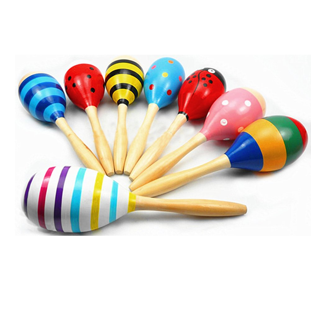 Kids Cute Sand Hammer Rattle Musical Instrument Percussion Wooden Ball Toy Gifts