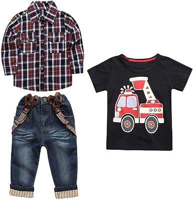 DOGZI Camisa a Cuadros de Manga Larga para niños + Camisa de Manga Corta + Conjunto de Tres Piezas de Jeans: Amazon.es: Ropa y accesorios
