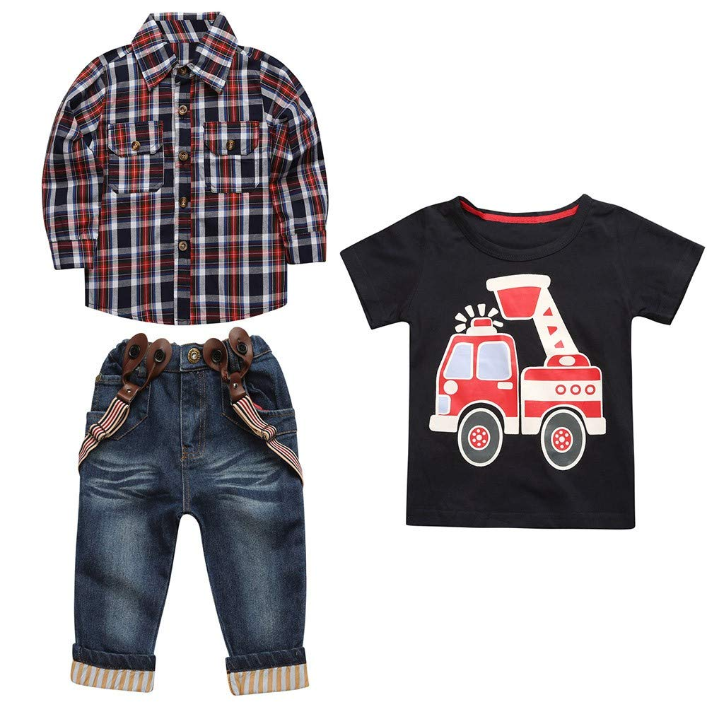 Onefa 3PCS Children Boys Jeans Pants Set Shirt Plaid Overshirt+T-Shirt+Suspender