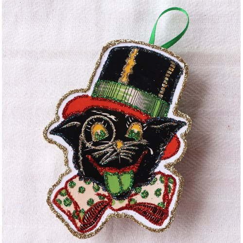 Cat Face Bow Tie~Vintage Halloween Card Image~Glittered Wooden Ornament~Handmade ()