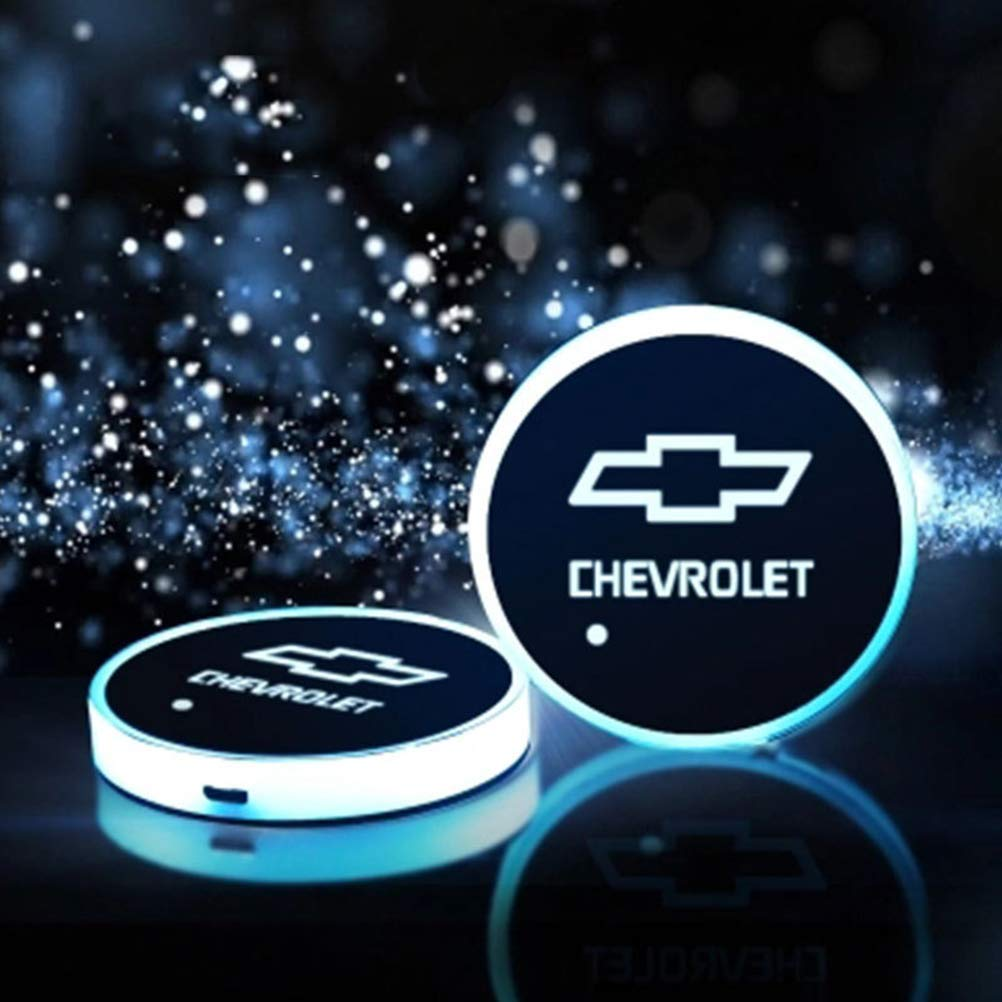 Chevrolet dise/ño de Coche Cargador USB Juego de 2 Soportes para Copa de Coche con Luces LED 7 Colores cambiantes