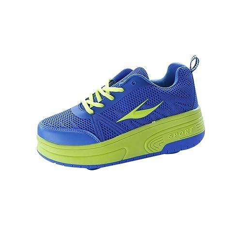 Zapatillas con ruedas retráctiles, una o dos ruedas, automáticos, color verde, talla 31 EU: Amazon.es: Zapatos y complementos