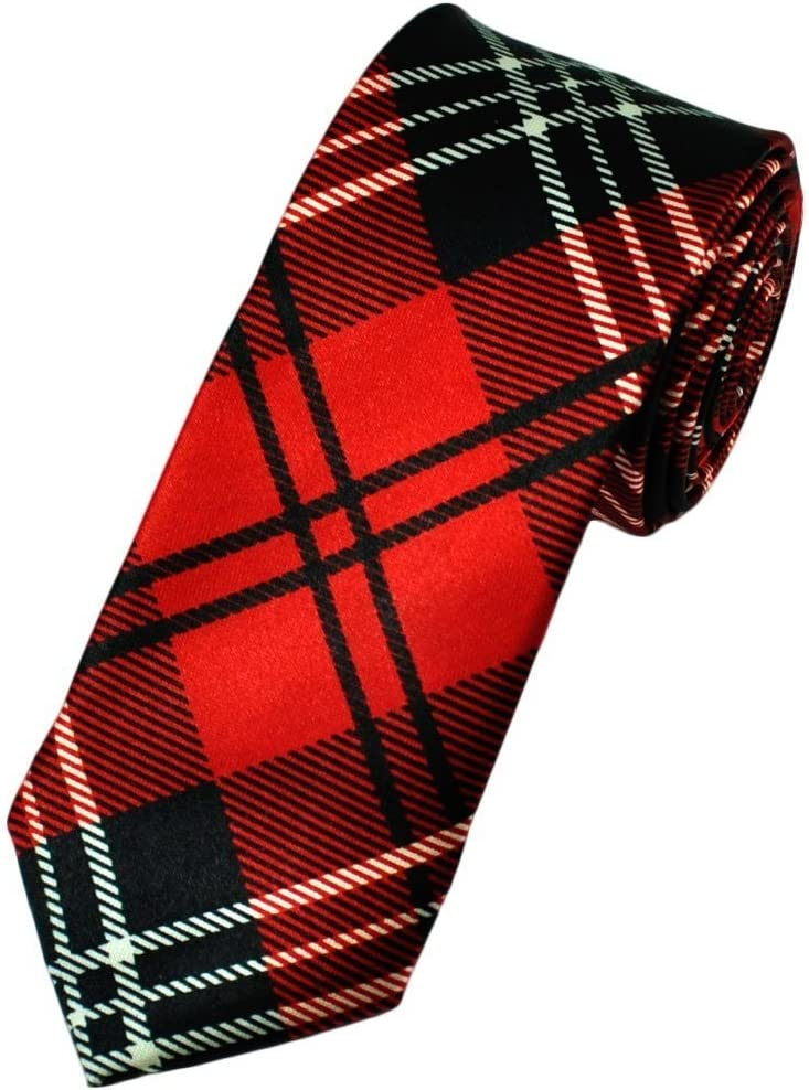 Corbata para Hombre Satinada Color Rojo a Cuadros Delgada - Negro, Unitalla: Amazon.es: Hogar