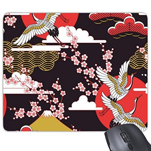 (Japan Culture Japanese Style Cranes Fuji Sakura Cloud Sun Repeat Illustration Pattern Rectangle Non-Slip Rubber Mousepad Game Mouse Pad)