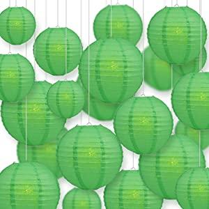 Quasimoon PaperLanternStore.com Ultimate 20-Piece Emerald Green Paper Lantern Party Pack - Assorted Sizes of 6, 8, 10, 12 Inch (5 Round Lanterns Each) for Weddings, Birthday, Events and Decor