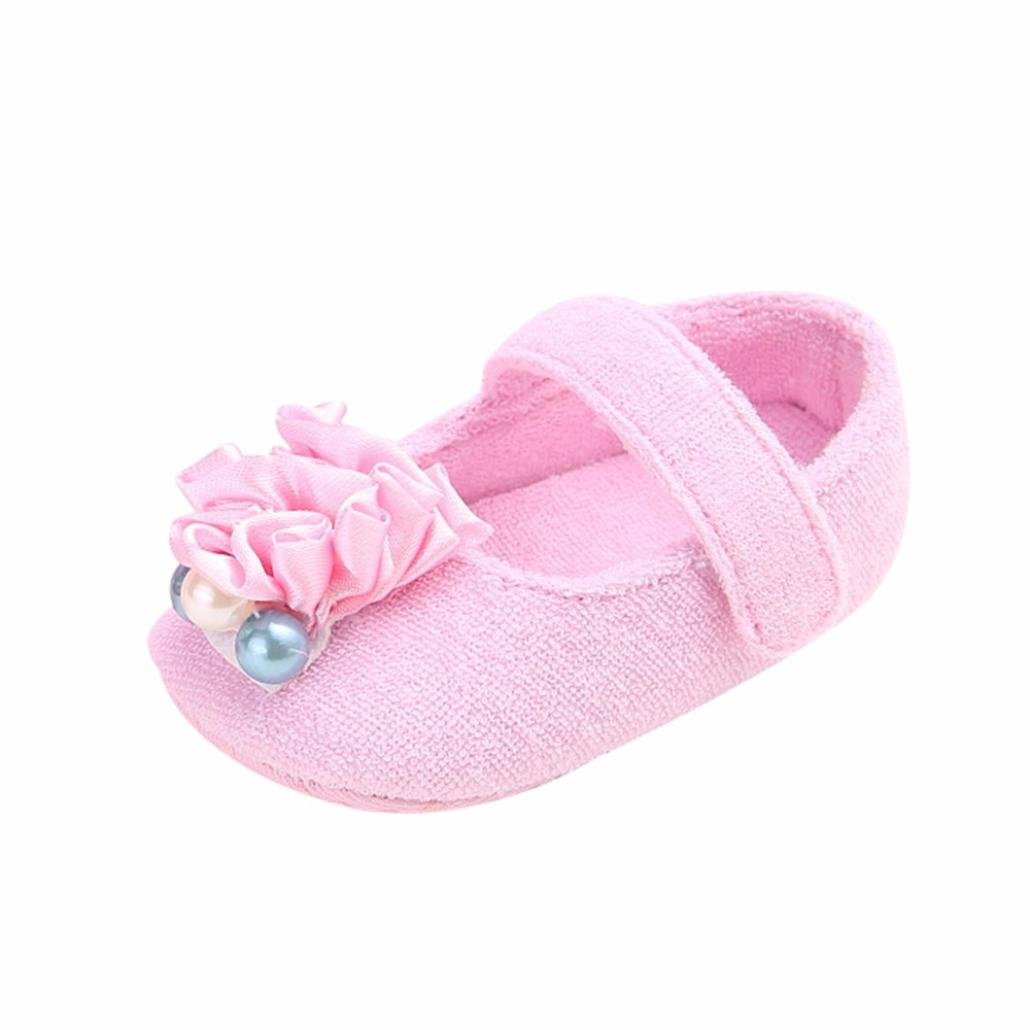 Amanod Newborn Infant Baby Flower Pearl Solid Anti-slip Soft Princess Shoes Sneaker