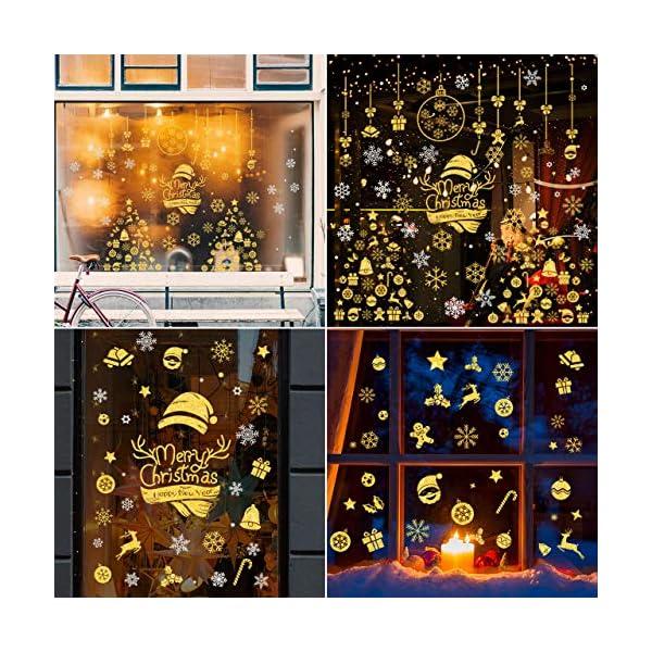 WOKKOL Decorazioni Natalizie, Vetrofanie Natale Finestre, Adesivi Vetro Natalizi, Rimovibile Adesivo Fiocco di Neve Fa Casa Piena di Atmosfera Natalizia (Gold & Silver Color-10PCS -2 Styles) 7 spesavip