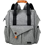 HapTim Multi-function Baby Diaper Bag Backpack W/ Stroller Straps,Large Capacity Nappy Changing Bag for Moms & Dads (Gray-5279)