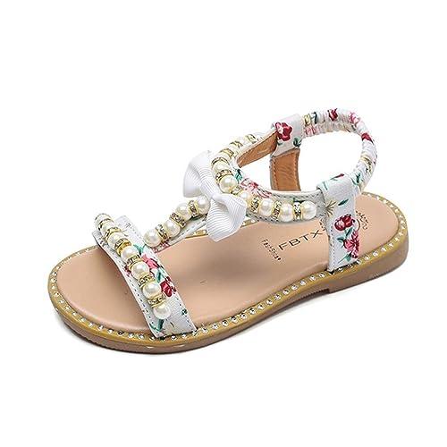 QinMM Sandalias de Perlas de Niña bebé, Zapatillas de Cristal de Princesa Romana Zapatos (