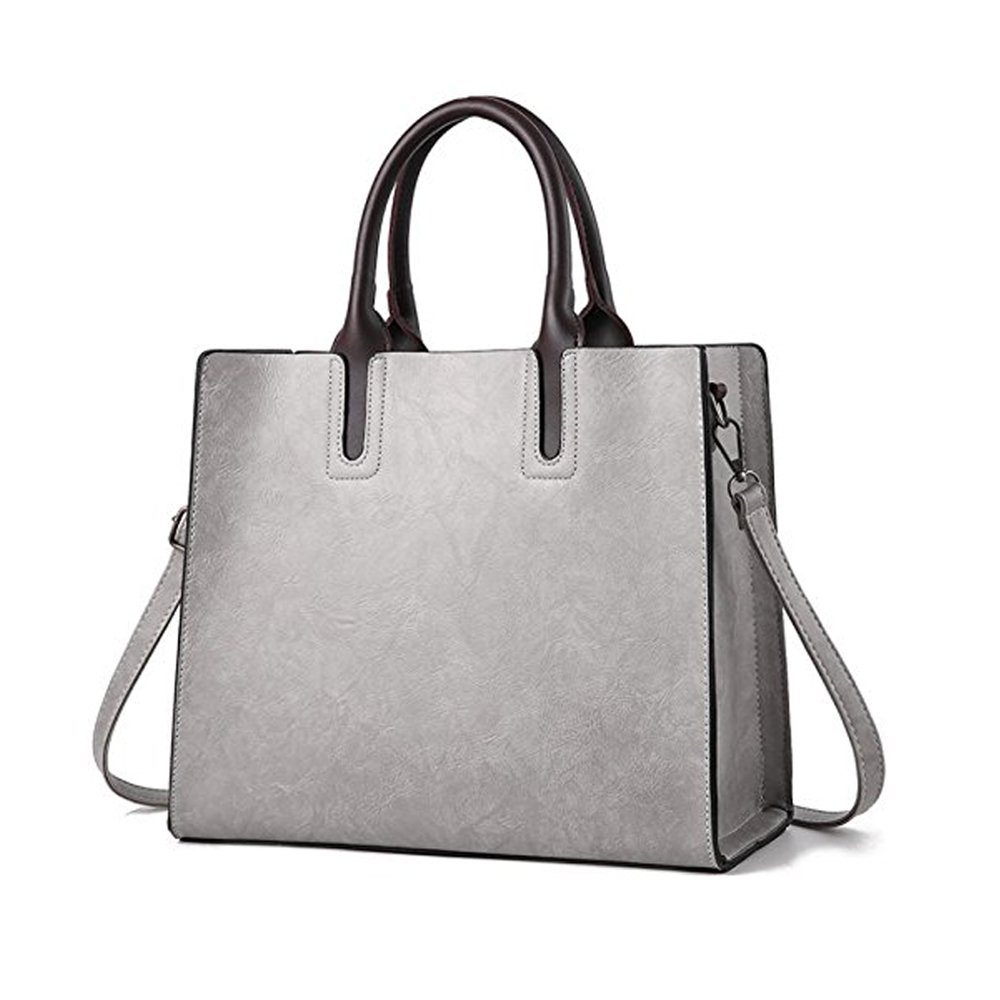 SJZ TECH Women's Designer Large Top Handle Structured Tote Bag Satchel Handbag Shoulder Bag Purse (gray)