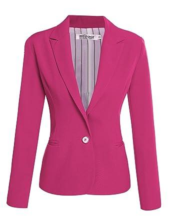 Blazer Mujer Azul Elegante Slim Fit Negocios Oficina Basic ...