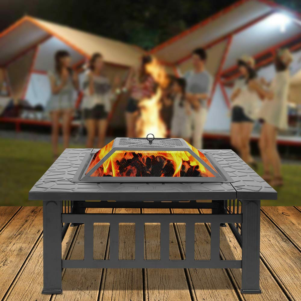 Jur_Global Outdoor 32'' Metal Firepit Garden Square Stove Fire Pit fire Bowl Patio Firepit Bowl by Jur_Global