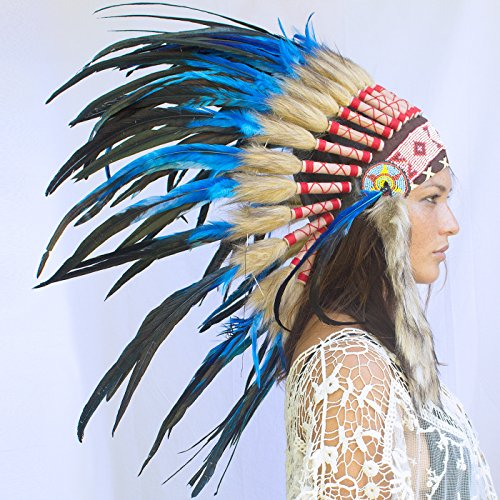 [Feather Headdress- Native American Indian Inspired- Handmade by Artisan Halloween Costume for Men Women with Real Feathers - Dark Blue] (Film Inspired Halloween Costumes)