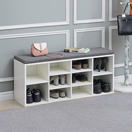 Home Storage Solutions Shoe Storage 2 Tier Shoe Cabinet Storage Bench Padded Hallway Seat Organiser 2 Wicker Baskets
