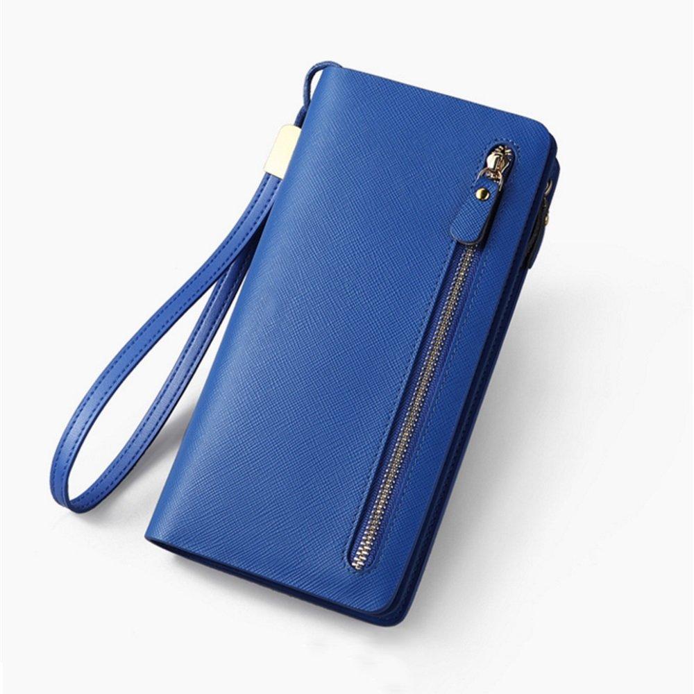 bluee Womens RFID Walllet Women Blocking Wallet Leather Zip Around Phone Clutch Large Travel Purse Wristlet Women's Leather Zip Around Wallet,Women Blocking W (color   Pink)