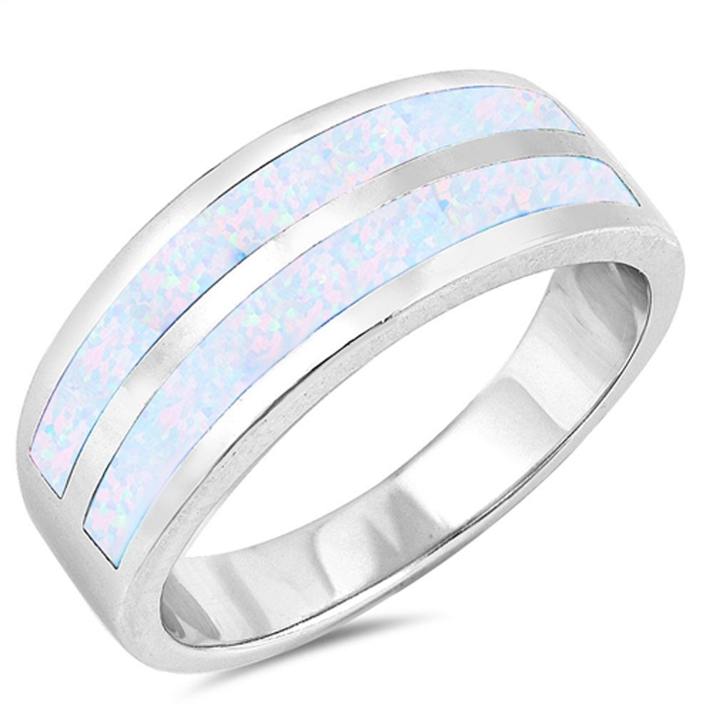 White Simulated Opal Wide Wedding Ring New .925 Sterling Silver Band Size 7