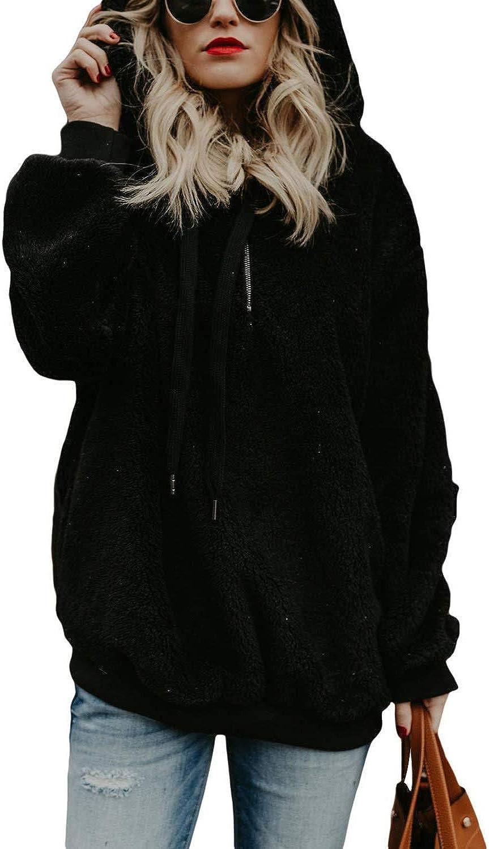 MayBest Women Oversized Hoodie Sherpa Pullover with Pockets Fuzzy Sweatshirt