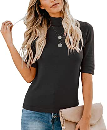 LETSRUNWILD Women's Summer Plain T-Shirt Blouses Slim Fitted Half Sleeve Mock Turtle Neck Casual Cute Tee Tops