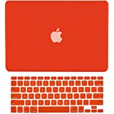 """TopCase 2 in 1 Retina 13-Inch RED Rubberized Hard Case Cover for Apple MacBook Pro 13.3"""" with Retina Display Model: A1425 and A1502 (Release 2013) and Matching Color Keyboard Cover + TOPCASE Mouse Pad"""