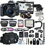Canon EOS 77D DSLR Camera Bundle with Canon EF-S 18-55mm f/4-5.6 IS STM Lens + Professional Video Accessory Bundle includes ECKO Headphones, Microphone, LED Video Light and More. (27 items)
