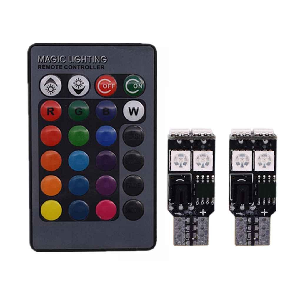Meisijia T10 5050 6SMD telecomando indicatore laterale delle luci 6 LED colorati Parcheggio lampadina RGB Porta targa di immatricolazione dell'automobile della lampada AMZmeisijia10766