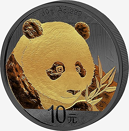 2018 CN GOLDEN ENIGMA Chinese Panda silver coin ruthenium plated 24Kk Gilded 1 OZ Perfect Uncirculated