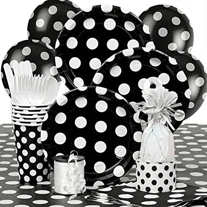 Amazoncom Black Polka Dot Party Supplies Kit For 8 Kitchen Dining