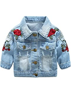 e79dedf54 Amazon.com: Kids Baby Girls Floral Embroidered Denim Jacket Casual ...
