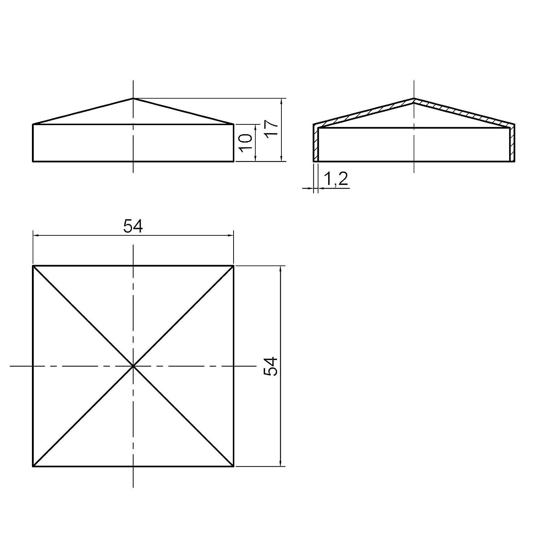 2 x SO-TOOLS/® Pfostenkappe Pyramide Stahl verzinkt Abdeckkappe f/ür Pfosten 50 x 50 mm