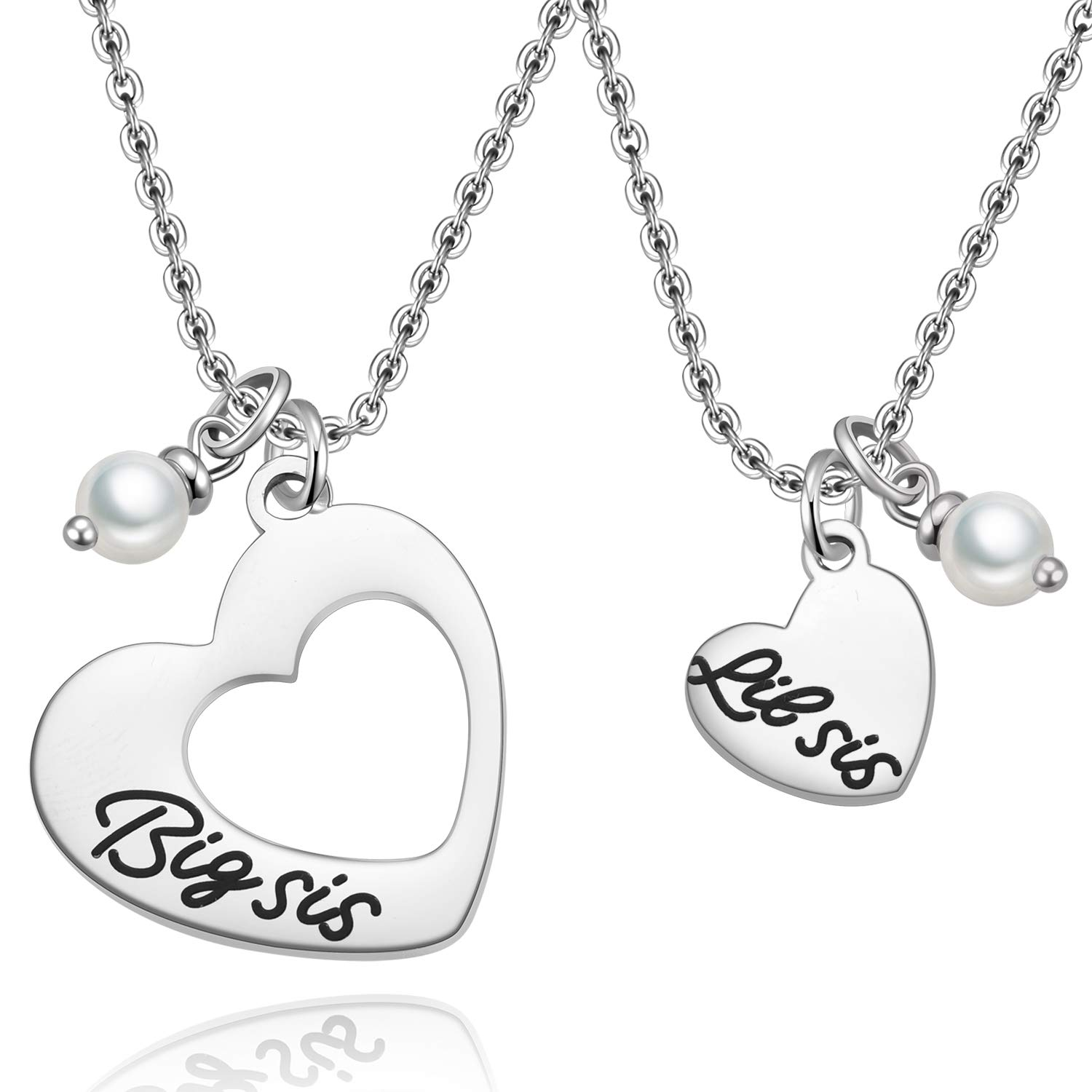 907db6bd57cd4 MIXJOY Sister Necklace for 2 Big Sis Little Sis Heart Pendant Necklace Set  Stainless Steel
