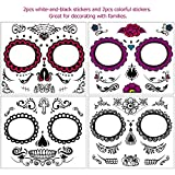 Unomor Day of The Dead Sugar Skull Tattoos Kit, Halloween Tattoos Makeup Set for Party Costume (4pcs)