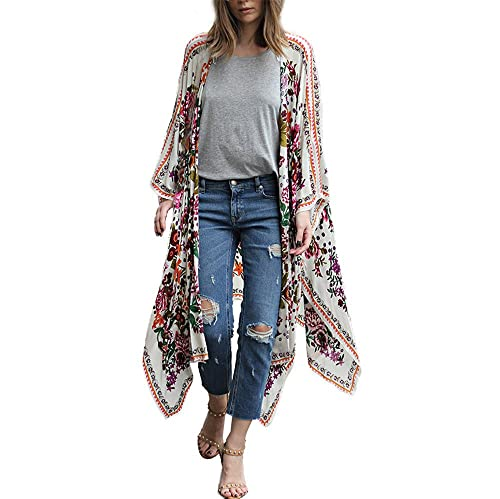 Sky Mujeres de impresión Floral de Gasa Suelta mantón Kimono cárdigan Tapa hasta Camisa Blusa Shirt ...