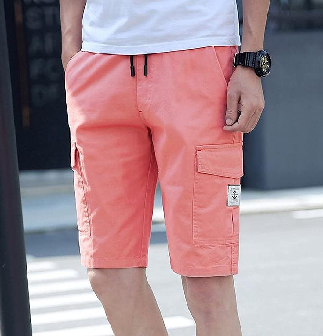 YUNY Men Pure Color Summer Casual Pocket Straight Leg Simple Running Shorts Watermelon red L