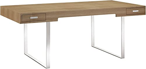Modway Tinker Contemporary Modern Wood and Stainless Steel Office Desk
