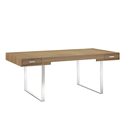Bon Modway Tinker Contemporary Modern Wood And Stainless Steel Office Desk With  Two Drawers In Natural
