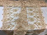 Super rich flower Design heavy Beaded mesh Lace fabric bridal Wedding champagne. Sold By The Yard