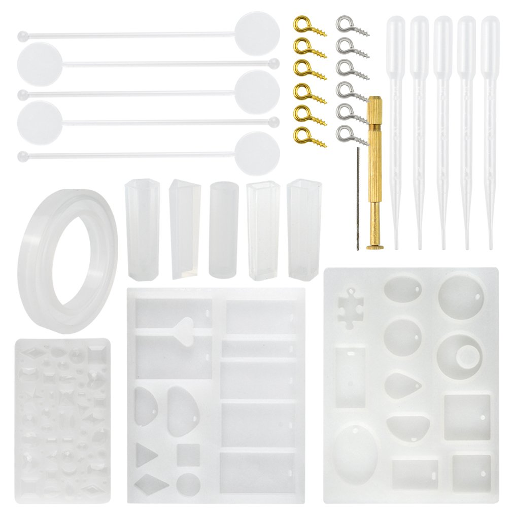 Jewelry Casting Molds Silicone Resin Jewelry Molds with 48 Screw Eye Pins, 5 Plastic Stirrers, 5 Plastic Droppers and 1 Hand Twist Drill