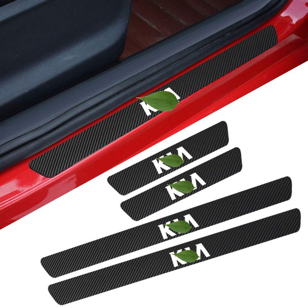 6.8cm LAUTO 4 Piezas de Fibra de Carbono antiara/ñazos para Puerta de Coche Pegatina de umbral de Placa de Desgaste Panel Protector de Paso para la mayor/ía de los Accesorios KIA,Rojo,59.5