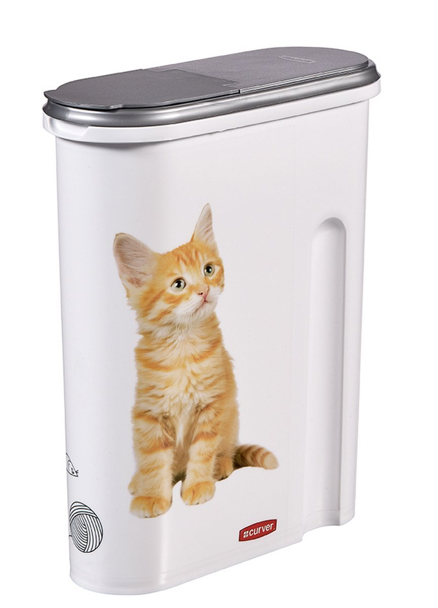 Curver dry cat food container 1.5 kg or 4.5L silver white cat motif