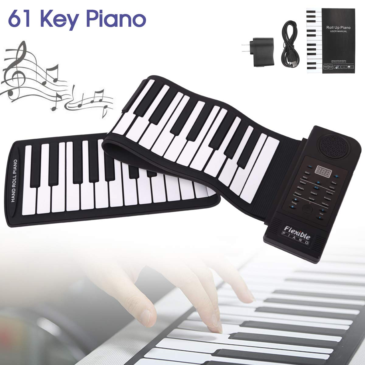 OriGlam Portable Roll Up Piano, Digital Electronic Piano Keyboard, 61 Keys Soft Silicone Flexible Foldable Keyboard, Built-in Speaker, Supports USB MIDI Output, Music Gifts for Women Men Kids by OriGlam