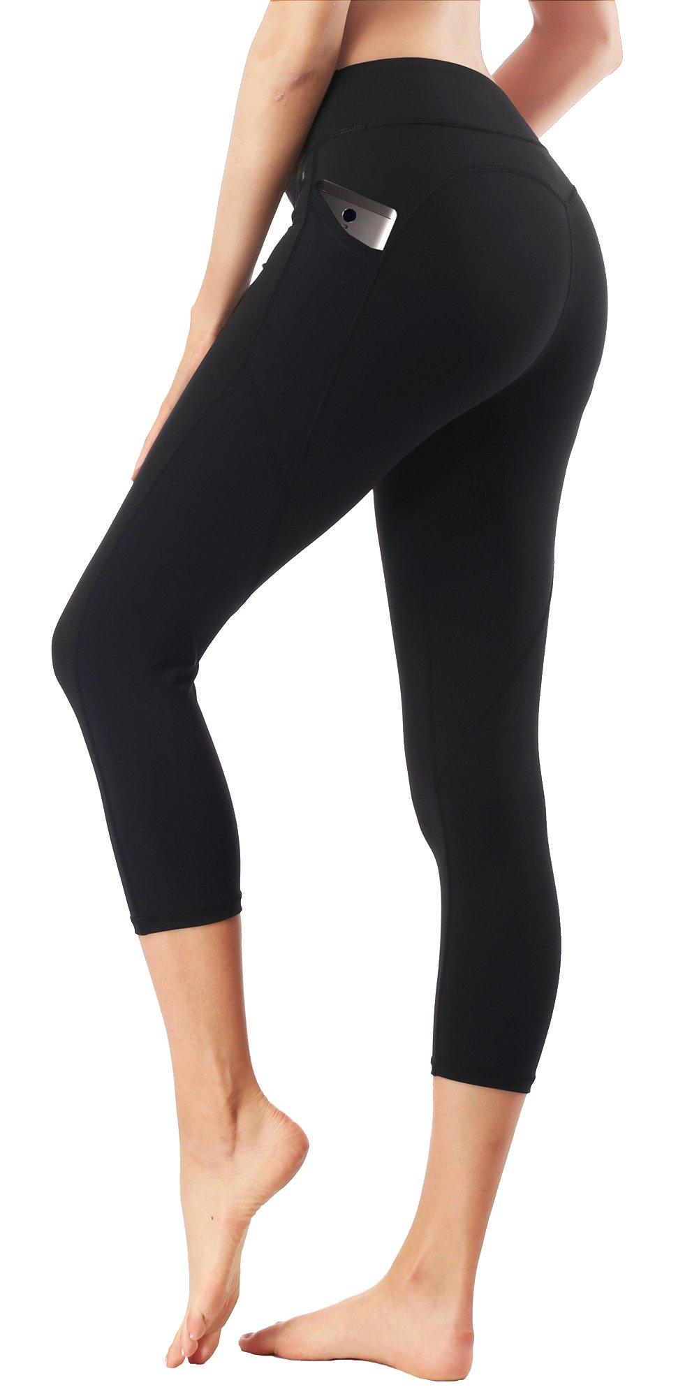 Dragon Fit Pockets Yoga Capri Workout Pants Tummy Control 4 Way Stretch Compression Running Yoga Capri Leggings