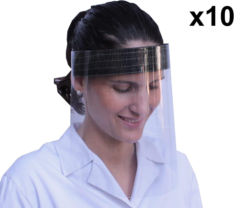 Yhzb-K Pantalla Protección Facial Transparente, Visera Protectora Facial, Protector Cara, Pantalla Facial Completa con Agarre de Velcro Trasero, Fabricado en España (Pack x10 uds)-Smp01