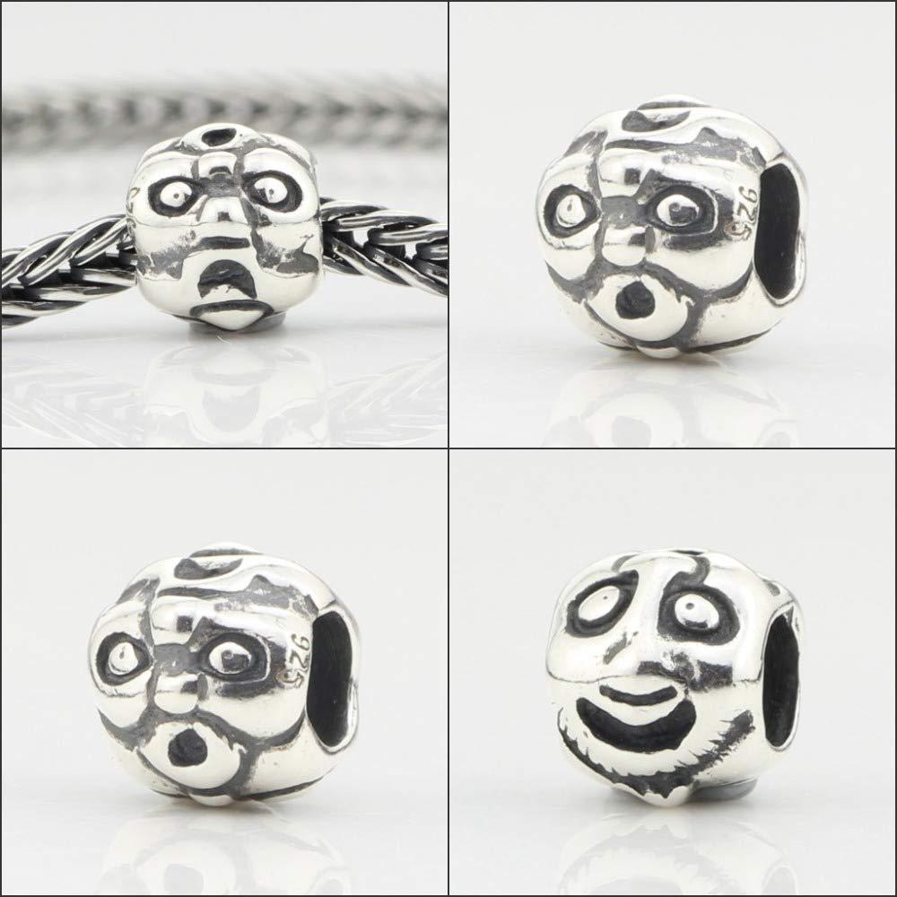 Calvas Mistletoe Jewelry Genuine 925 Sterling Silver Faces Charm Bead Fit European Troll 3.0mm Bracelet