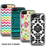 Protective Designer Vinyl Skin Decals for LifeProof FRE iPhone 5C Case - Cool Trendy Floral, Damask, Chevron & Tribal Design Patterns (Pack of 4 Skins) - [TeleSkins] - Only SKINS and NOT Case