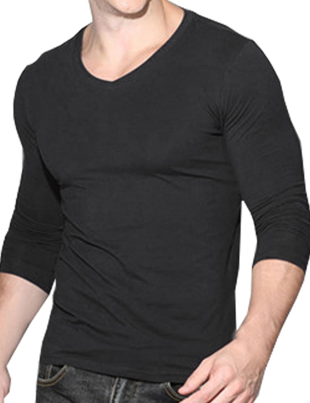 DDSOL Men's Cotton Long Sleeve Sports Training Compression Base Layer T-Shirt