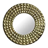 NOVICA Decorative Glass Wall Mounted Mirror, Gold Tone Brass 'Circling Pyramids'