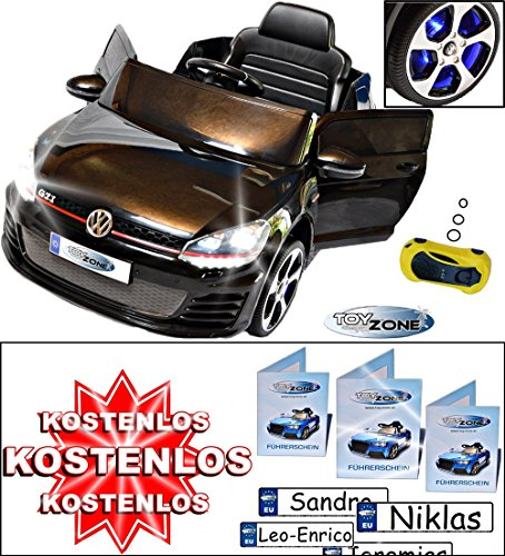 Kinderfahrzeug 12V Kinder Elektro Auto VW Golf GTI 2,4 GHZ schwarz RC Steuerung