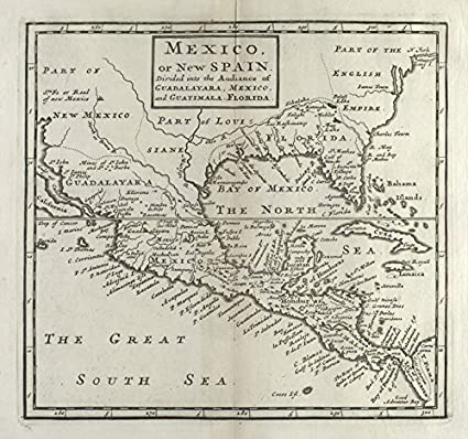 Amazon.com: Historic 1713 Map | Mexico, or, New Spain : Divided into ...
